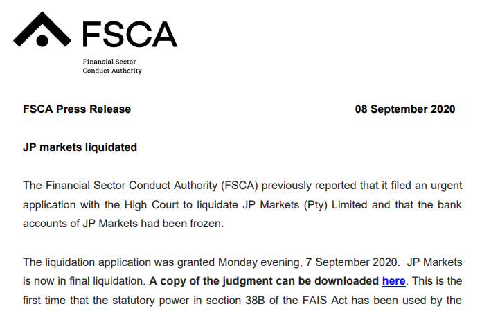 FSCA JP Markets Liquidation