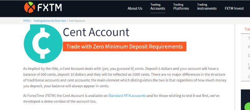 FXTM Cent Account